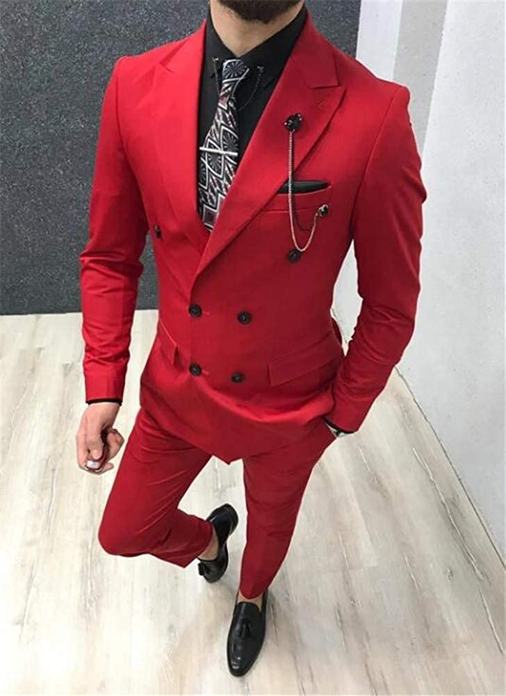 Red Double Breasted Men Suits Blazer Pants Slim Fit Prom Grooms Wedding Tuxedo Business Suits Custom Made