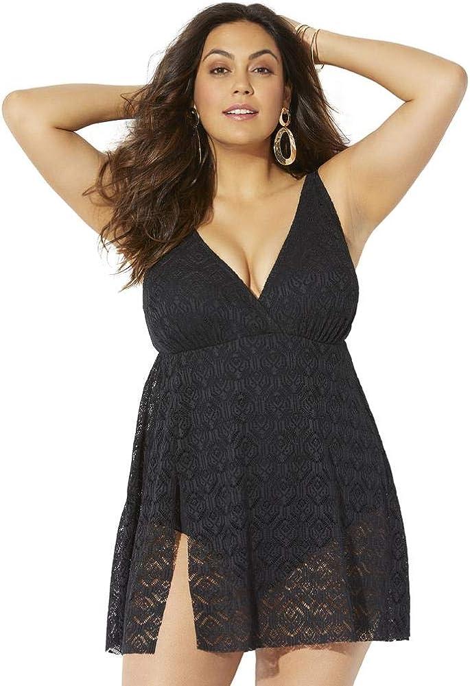 売り出し Swimsuits For All Women's Plus Size V-Neck Slit Side Crochet 激安価格と即納で通信販売 Swi