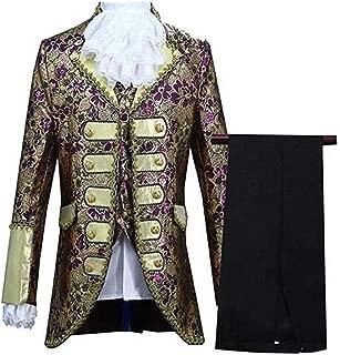 Evalent Men's European Court Dresses Five-Piece Prince Victorian Gothic Suit Stage Costume Blazer Jacket & Trousers Set
