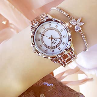 Women Fashion Watch Metal Case Band Analog Wrist Watch Glittering Diamond Quartz Watch