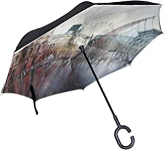 Reverse Umbrella Le Louvre Paris Watercolor Windproof Double Layer Inverted Umbrella Anti-UV Protection with C-Shaped Handle for Car Outdoor Use