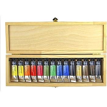 ROSA Gallery Artists Watercolors - Set de Acuarelas de 14 Colores en Caja de Madera - Tubos de 10ml: Amazon.es: Hogar
