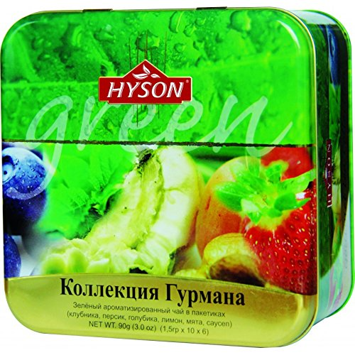 HYSON TEE Grüner Beutel Tee Ceylon Tea Gourmet Fruit Collection (Grüner Beuteltee in Metalldose 90g.)