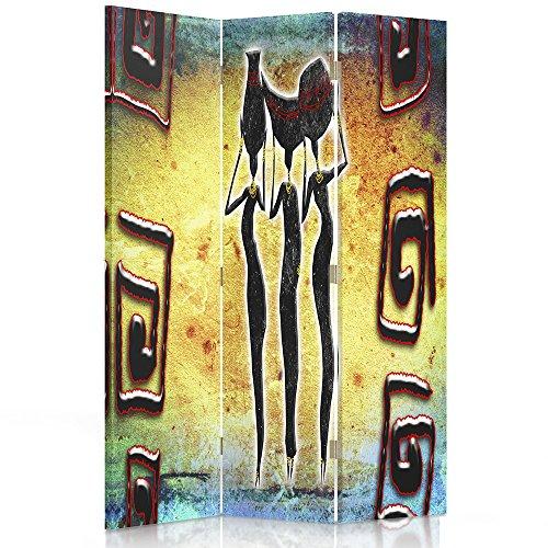 Feeby Frames Il paravento Stampato su Telo,Il divisorio Decorativo per Locali, unilaterale, bilaterale, a 3 o 4 Parti, ASTRAZIONE, Africa, Motivi, Donne, Tre, Giallo, Verde, Rosso