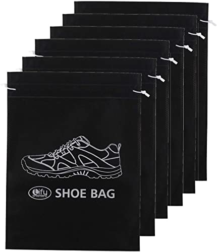 Synthetic Shoe Bags Set of 6 Black