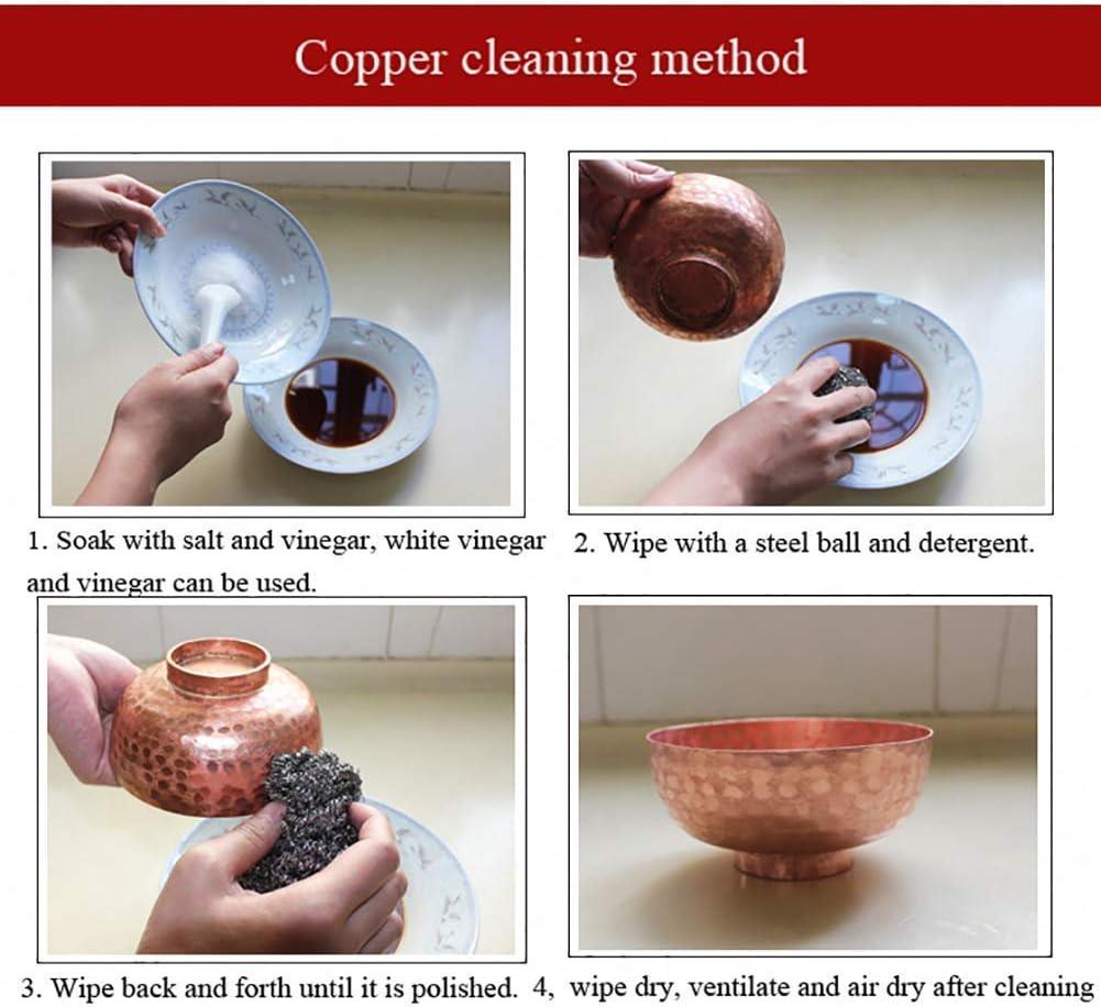 LIUSHI Fait à la Main en cuivre Pot à Soupe Pot à Soupe ragoût Casserole avec Couvercle ustensiles de Cuisine à feu Ouvert A 4,75 Quart 4.75quart