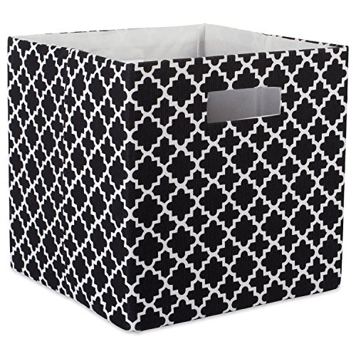 DII Hard Sided Collapsible Fabric Storage Container for Nursery, Offices, & Home Organization, (13x13x13) - Lattice Black