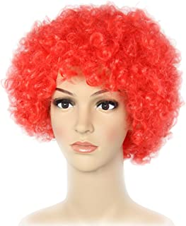 Foxxeo Peluca roja de Payaso 70 para el Carnaval Peluca Afro Cabeza rizada roja para la Fiesta