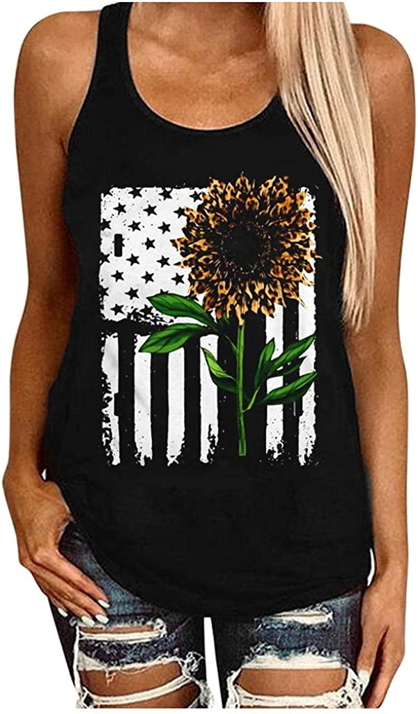 Aukbays Womens USA Flag Sunflower Print Tank Tops 4th of July Patriotic Sleeveless T-Shirts Vest Blouses Graphic Tees