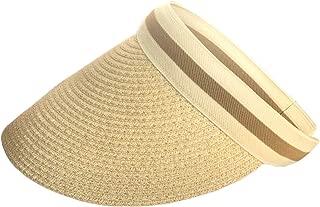 Epsion Straw Sun Visor Wide Brim Travel Hat Freesize Ponytail Fashion Beach Cap