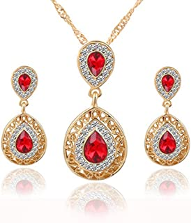 Deals Necklace+Earrings Jewelry Set Womens Mixed Style Bohemia Color Bib Chain Necklace Earrings Jewelry Gift ZYooh