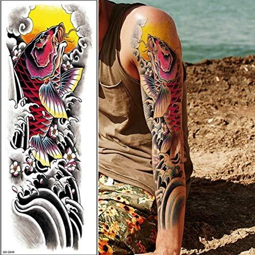 Zhuhuimin 3 stks Volledige arm tattoo mouw pauw pioen kraan bot ontwerp waterdichte koele mannen en vrouwen tattoo stickers body art verf