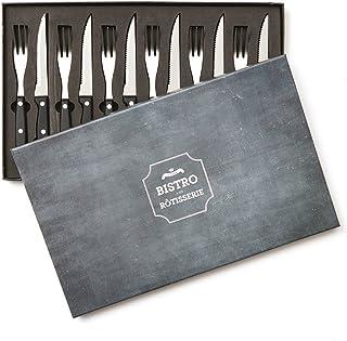 noTrash2003 Bistro - Cubertería para Carne (6 Unidades, Incluye Cuchillo y Tenedor)