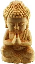 FOY-MALL Cute Thuja Sutchuenensis Wood Carved Little Sakyamuni Statue Figurine Style 2 S1059
