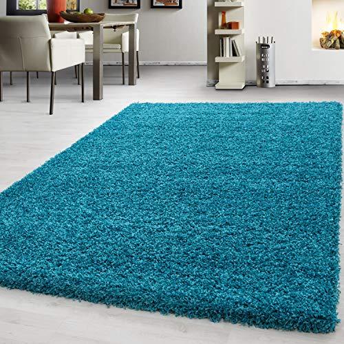 Teppich hochflor Shaggy Teppich modern einfarbig langflor Wohnzimmer teppiche, Maße:60 cm x 110 cm, Farbe:Türkis