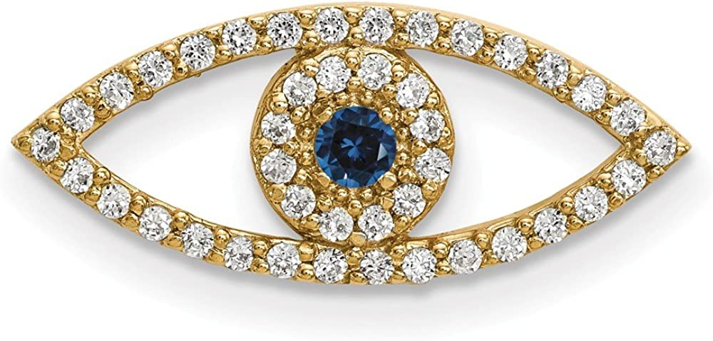 Solid 14k Yellow Gold Small Diamond and Sapphire Blue September Gemstone Evil Eye Protection Pendant Charm - 7mm x 19mm
