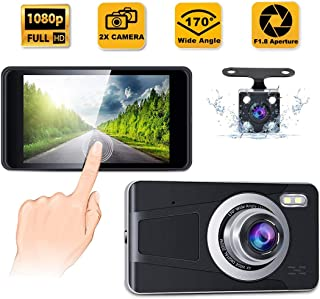 """CREUSA® Dash Cam, 4"""" IPS Touch Screen Full HD 1080p Resolution Dash Camera for Car with 170° Wide Angle, Super Night Visio..."""