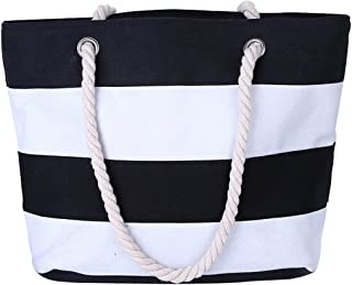 Cotton Canvas Tote Beach Bag With Zipper Top Handle Handbag Shoulder Bags Shopping Bag from Nevenka (Style 1, Black White)