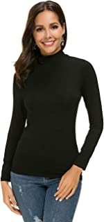Women's Long Sleeve Stretchy Tshirt Slim Fit Mock Turtleneck Comfy Basic Tee Top