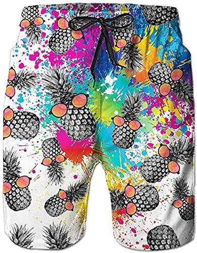 N \ A Piña con gafas para hombre, traje de baño con cordón, corto, informal, de secado rápido, pantalones cortos de playa con forro de malla y bolsillos, Multicolor, XL