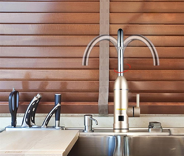 Faucet SLT 360 Grad Behlterless sofortiger elektrischer Warmwasser-Heizungs-Hahn-Küche-Heizung-Hahn-Edelstahl-Hhne, Gold