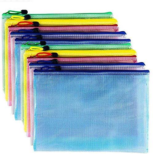 AUSTARK 10Pcs Zipper File Bags Zipper Pouch PVC Document Bag Zipper Folders Document Pouch Receipts Organizer for Office School Home Travel B4 Size 15 x 11 Inches Multicolor