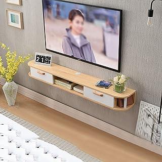 Los estantes flotantes Mueble de pared de madera maciza Mueble de TV Colgante de pared Conjunto de paredes Tallero, estant...