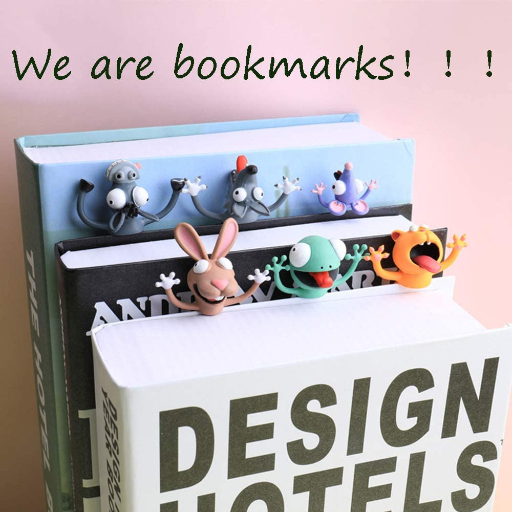 Funny Bookmarks for Kids Cartoon Animal Book Markers Squashed Novelty Creative Cute Stationery Wacky Bookmark Pals for Reading Lover cat