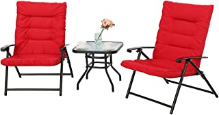 PHI VILLA 3 PC Padded Folding Bistro Set Patio Adjustable Reclining Indoor Outdoor Furniture, Red