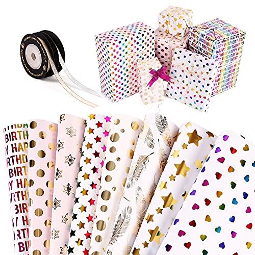 Hongyans 8 Fogli di Carta da Regalo Compleanno Carta da Pacchi Pois Stella Oro, Carta da Imballaggio con 2 Rotoli Nastro Regalo 10 Pz Fiocchi Regalo per Matrimonio Natale Baby Shower Capodanno