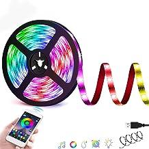 شريط اضاءة LED ذكي من فيلزامور بتقنية بلوتوث يمكن التحكم فيه وتغيير الوانه عبر تطبيق الجوال الذكي فضاء لوني RGB 5050، مضاد...