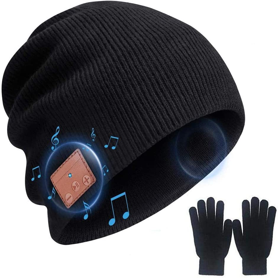 2020 Upgraded Bluetooth5.0 Beanie Hat Headphone Music Audio Hands-Free Phone Call for Outdoor Sports, Built-in HD Stereo Speakers Smart Music Hat, for Men Women - Suit (Black)