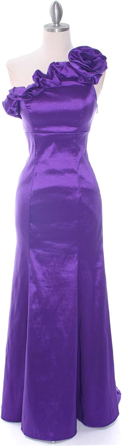 Vampal Purple Mermaid Floor Length Bridesmaid Dress With One Shoulder Flowers
