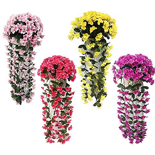 Muzi 4 Pack Artificial Violet Flower Silk Plastic Flowers Wall Wisteria Basket Simulation Rattan Plant for Wedding Decorations Home Garden Party Decor