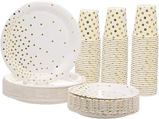 30 قطعة من الأكواب الورقية سعة 266 مل + 30 قطعة طبق مقاس 17.78 سم + 30 قطعة أطباق سعة 22.86 سم للاستعمال مرة واحدة