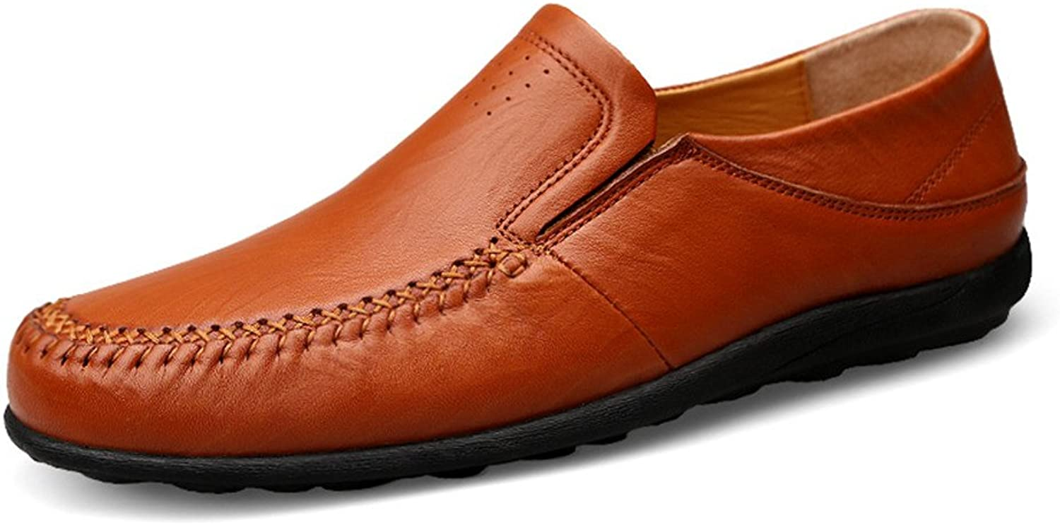 Men's Driving Loafer Casual and Refreshing Premium Genuine Leather shoes with Soft Soles are Not Slippery Boat Moccasins Cricket shoes (color   Hollow Reddish Brown, Size   7 UK)
