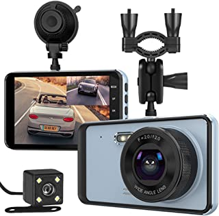 Dual Dash Cam, Car Dashcam Front and Rear View Camera 1296P HD 4 Inch IPS Touch Screen with Night Vision Support 64GB Memory Card