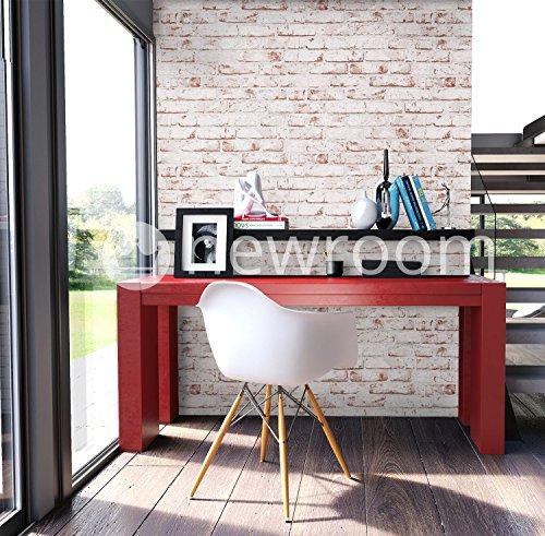 Steintapete Vlies Weiß Rot Edel,  3D Optik für Wohnzimmer, Schlafzimmer, Flur oder Küche, inklusive der Newroom-Tapezier-Profi-Broschüre - 4