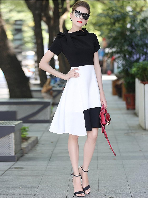 ZHUDJ A Black And White Dress Dress Autumn Shoulder Slim Slim Short Sleeved