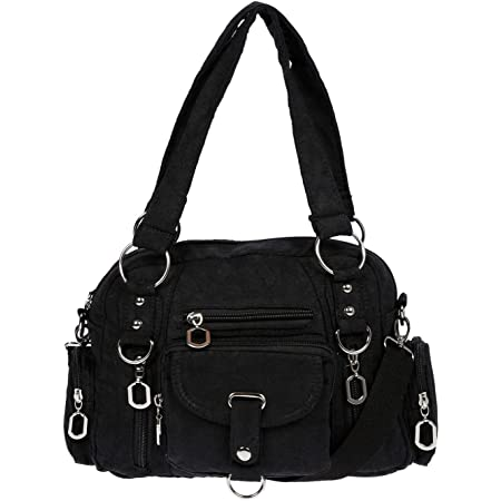 Christian Wippermann Damenhandtasche Schultertasche Tasche Umhängetasche Canvas Shopper Crossover Bag Schwarz
