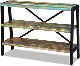 Lingjiushopping - Aparador con 3 estantes de madera maciza envejecida - Material: madera maciza envejecida + estructura de...