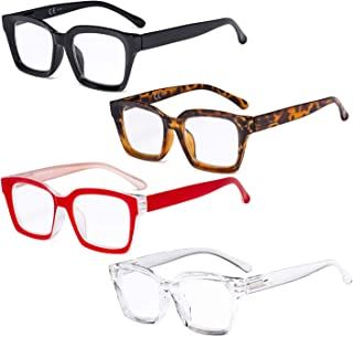 Eyekepper 4 Pack Ladies Reading Glasses - Oversized Square Design Readers for Women +1.75