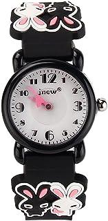 JIAN YA NA Children's Watch Waterproof 3D Cute Cartoon Design Round Dial Silicone Rubber Jelly Color Watch Band Xmas Gifts Quartz Wristwatch for Little Girls Boy Kids Children (Black(Two Rabbits))