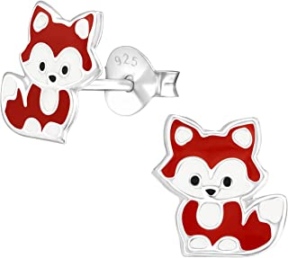 PTN Cute Small Red Fox Earrings Stering Silver (E36569)