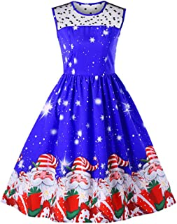 Vovotrade Women Christmas Printed Vintage Dresses Evening Party Prom Swing Dress X'Mas Gift