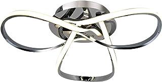 AUROLITE AL1015D Contemporary LED Chrome Semi Flush Ceiling Light, 12W 2200LM, Dimmable, 3000K Warm White, Modern Swirl De...