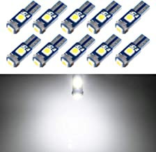T5 LED Bulb Dashboard Dash Lights White 6000K 3030 SMD Wedge Base for Car Truck Instrument Indicator Air Conditioning AC Lamp Auto Interior Accessories Kit Bright 12V 1W 1 Year Warranty 10Pcs【1797】