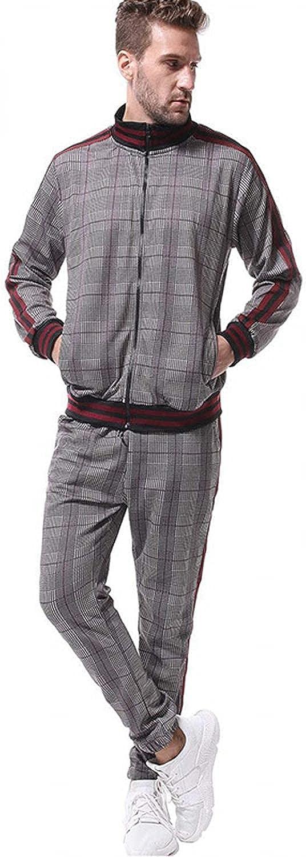 Men's 2 Piece Sportwears Suits Stand Collar Full Zipper Plaid Print Outwear & Jog Pants Casual Running Jogging Outfits