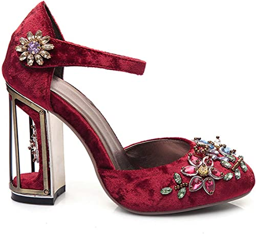 Crystal Flower Mary Janes damen Pumps schuhe Strange High Heels 10cm Hook & Loop Handmade Rhinestone Wedding schuhe FT028 rot 10cm Heel 8