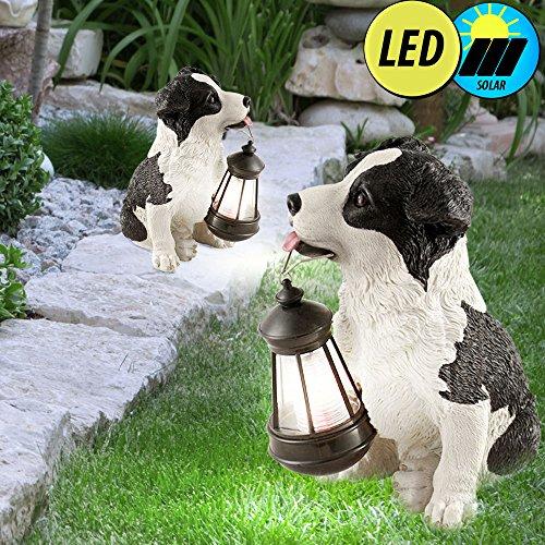 2er Set LED Außen Beleuchtungen Hunde Tier Figuren Garten Dekoration Steh Lampen Solar Leuchten IP44